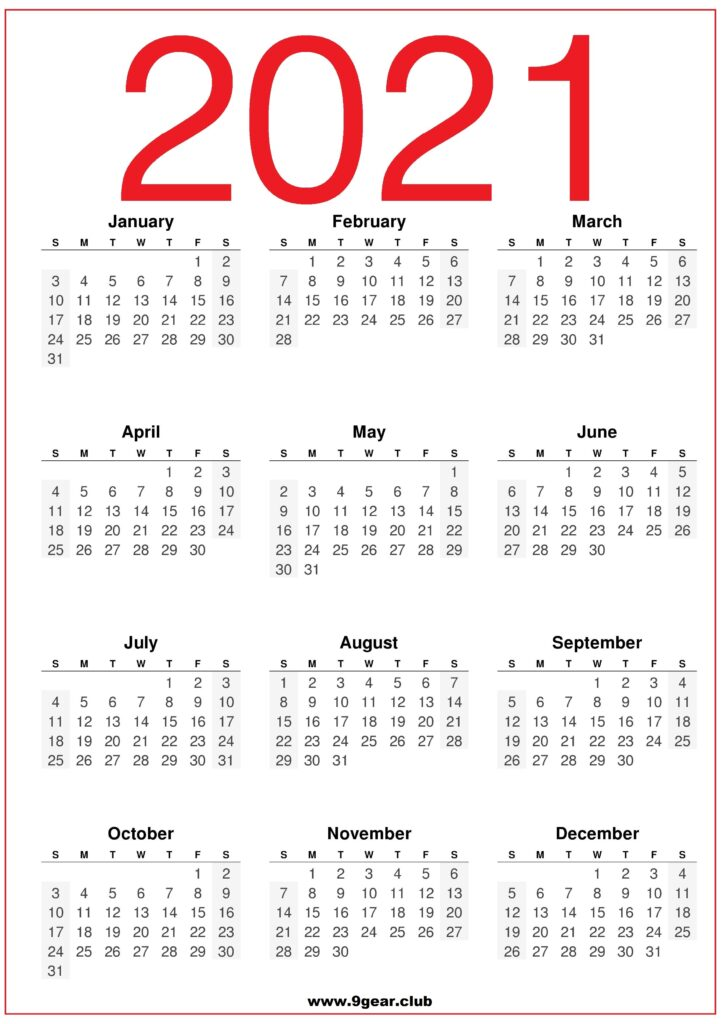 2021 Calendar United States HD print