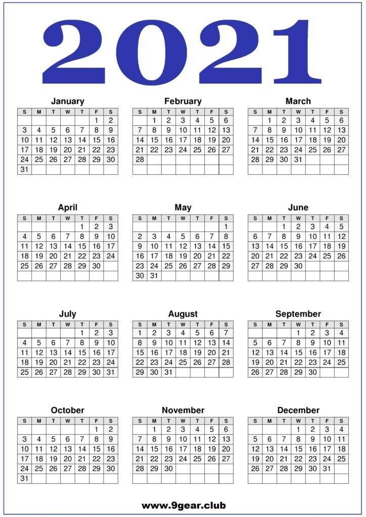 2021 Calendar Printable United States