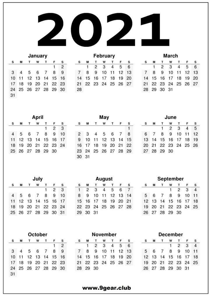 Free 2021 Calendar Printable - Black and White
