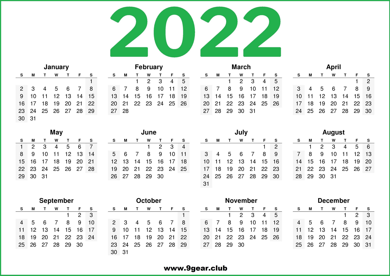 Calendar Usa 2022.Printable 2022 Us Calendar Green Color Printable Calendars 2022