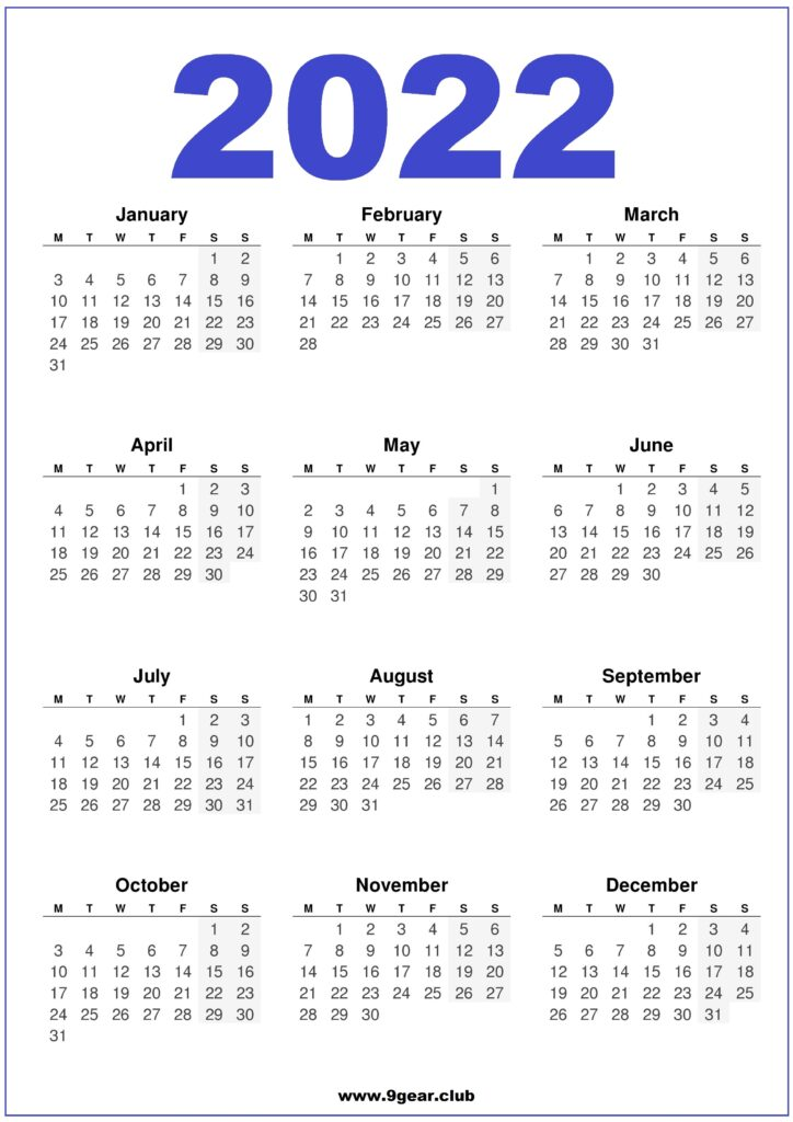 One Year Calendar 2022.Yearly Calendar Archives Printable Calendars 2022