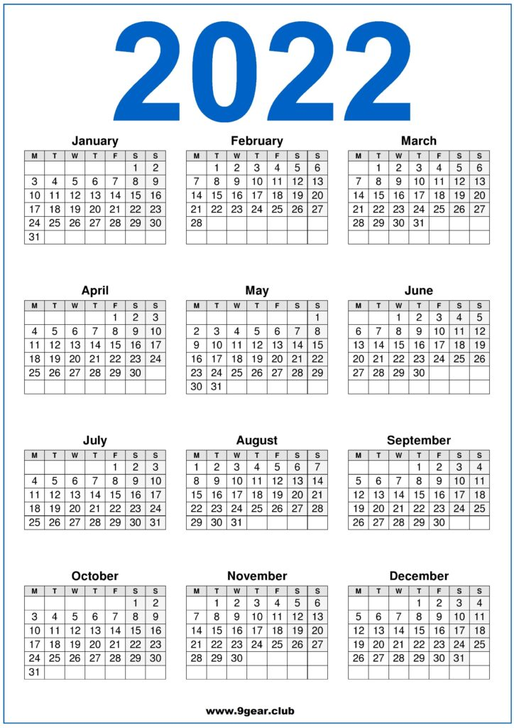 2022 One Page Calendar.Png Archives Printable Calendars 2022