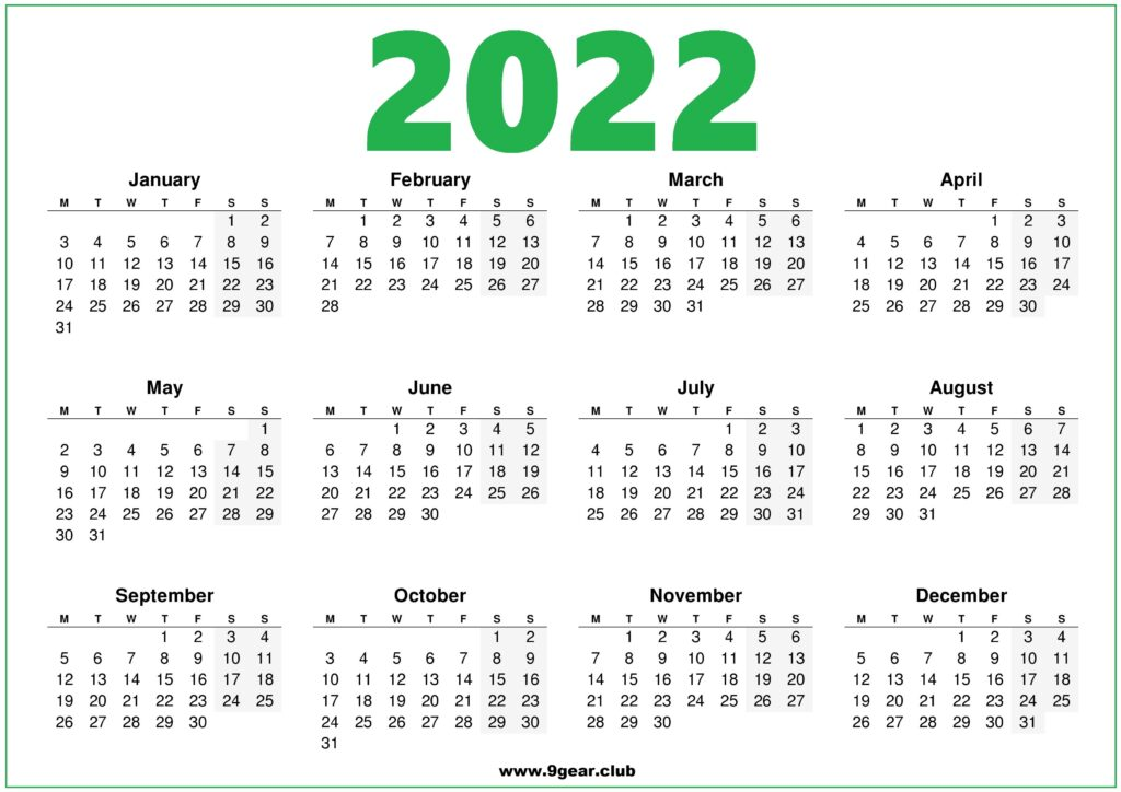 2022 Calendar 1 Page.Png Archives Printable Calendars 2022