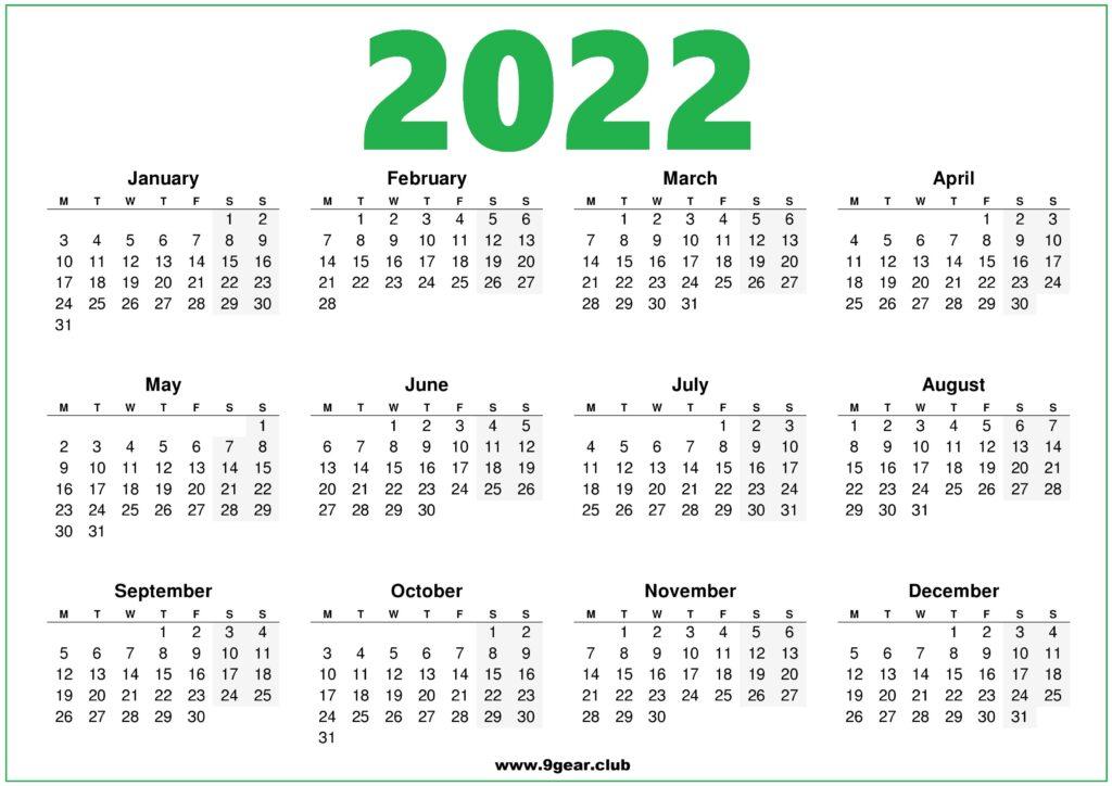 2022 Printable Calendar UK Green