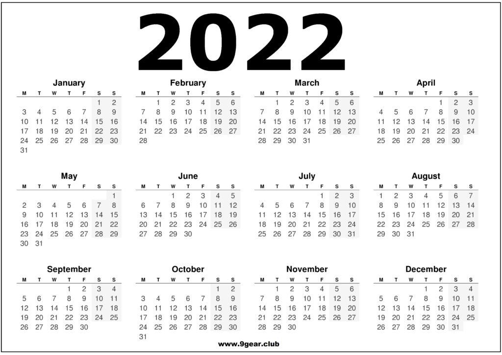 UK 2022 Calendar Printable Black and White