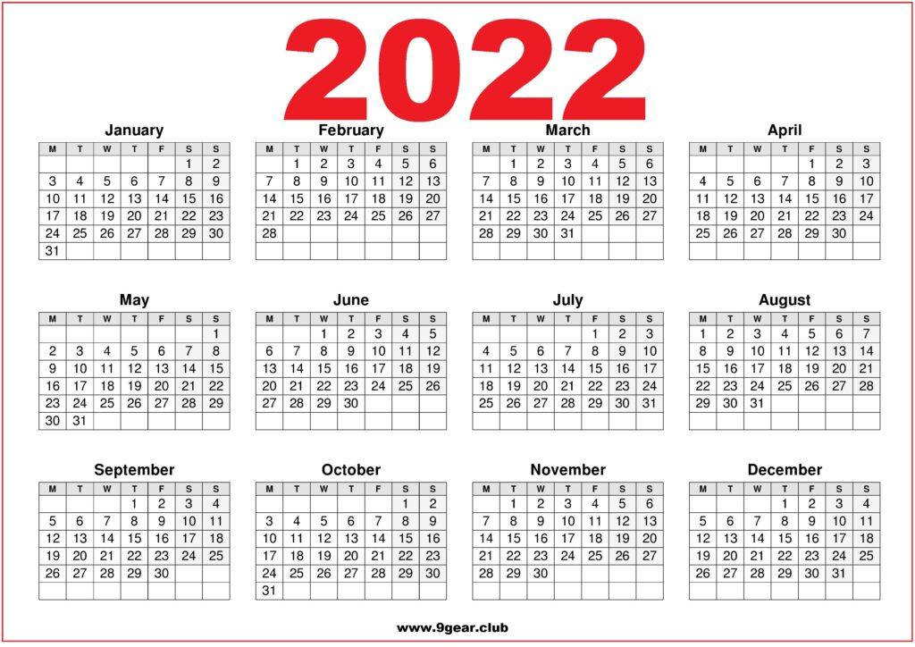 UK Calendar 2022 Printable Red and White