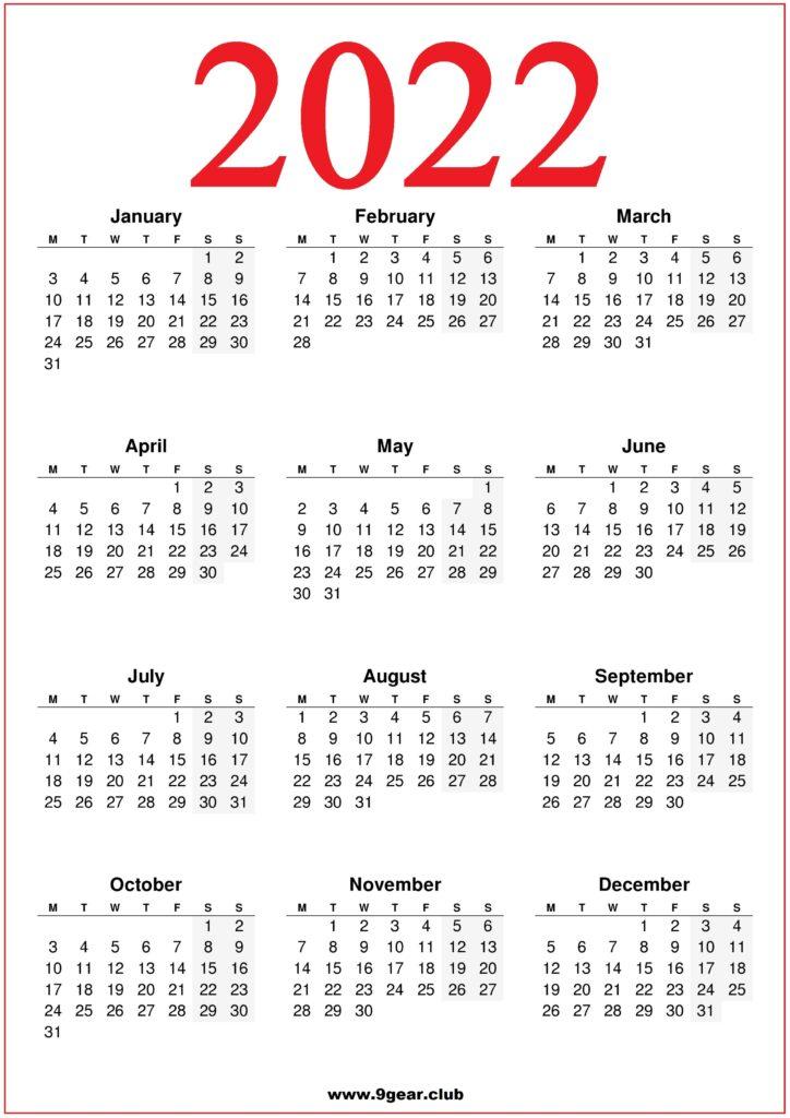 2022 Printable UK Calendar Red Color