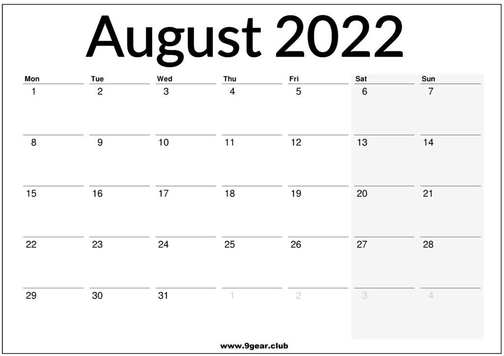 August 2022 Calendar UK Printable