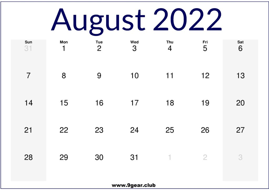 August 2022 Calendar US Free