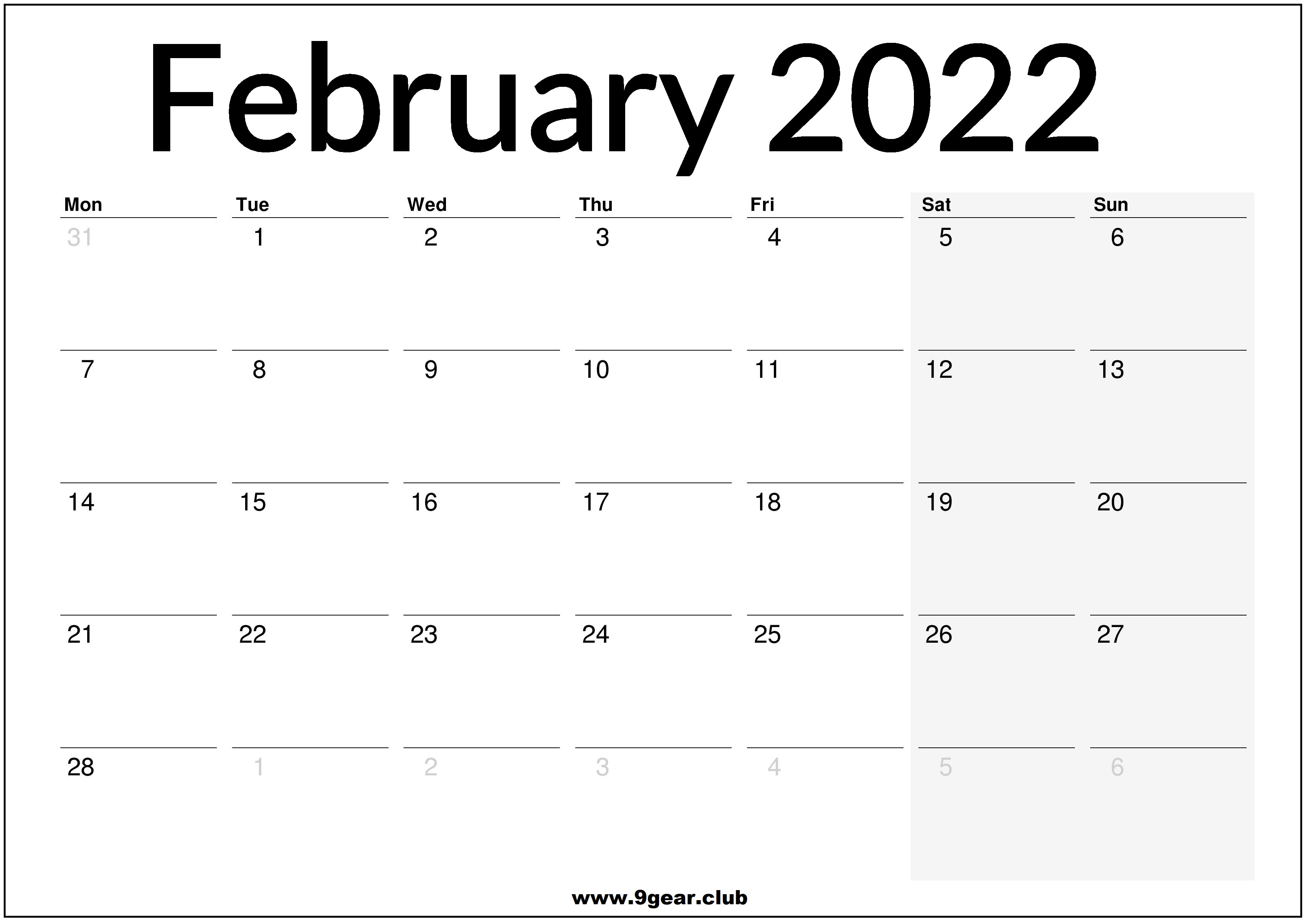 2022 February Calendar Printable.2022 Archives Page 2 Of 4 Printable Calendars 2022