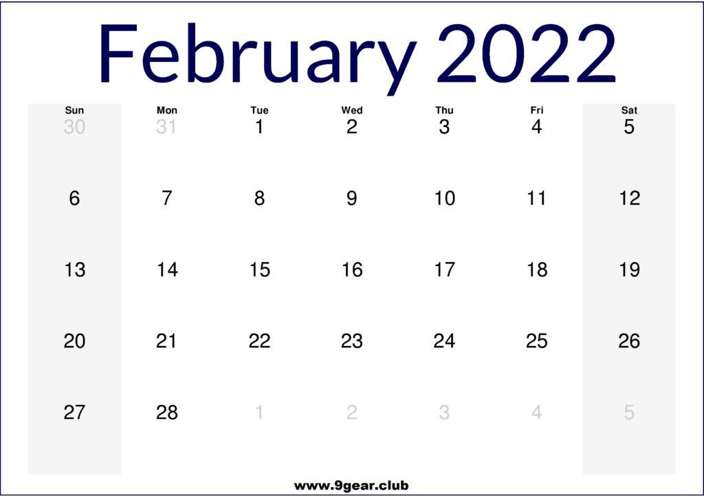 February 2022 US Calendar Printable