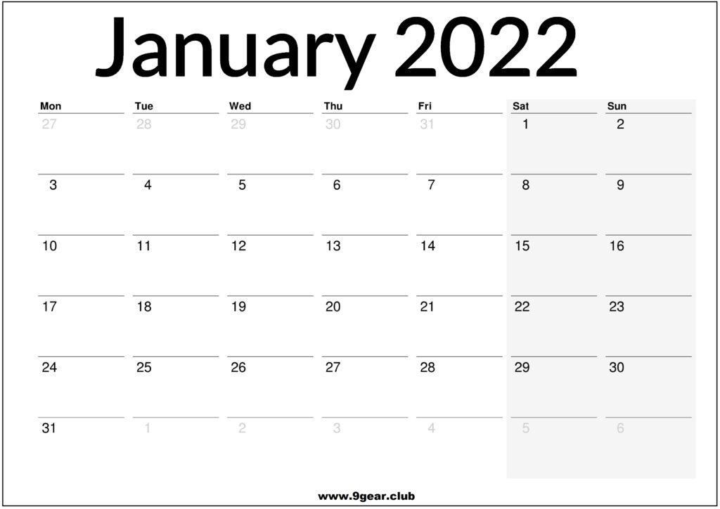 January 2022 UK Calendar Printable