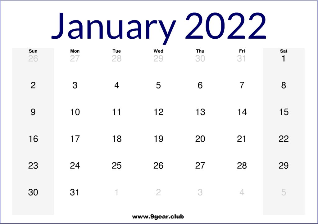 January 2022 US Calendar Printable