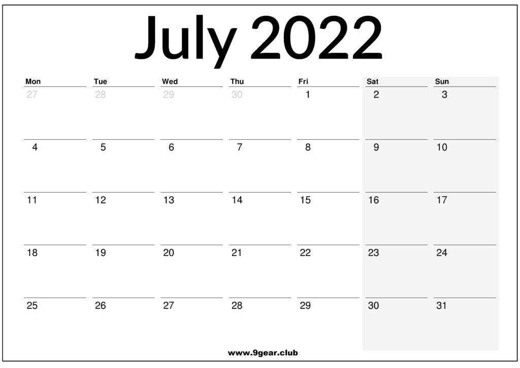 July August September 2022 UK Printable Calendar