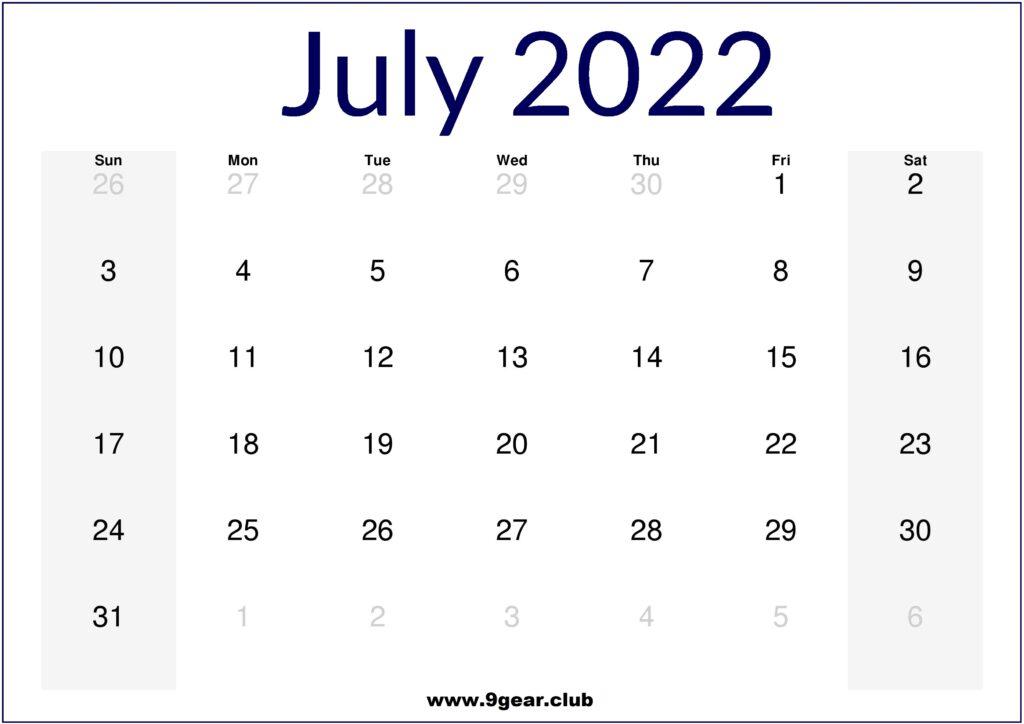 2022 July August September Printable Calendar US