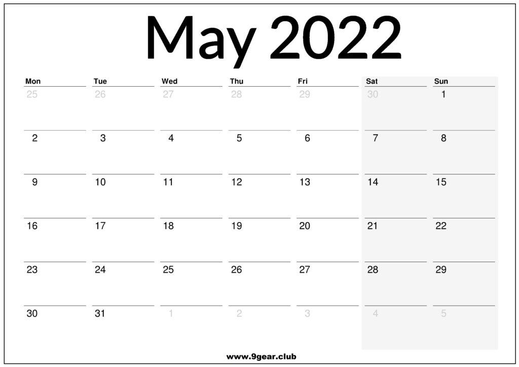May 2022 UK Calendar Printable