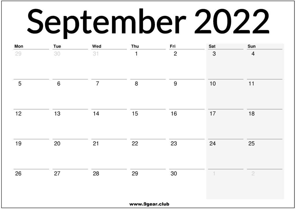 September 2022 UK Calendar Printable