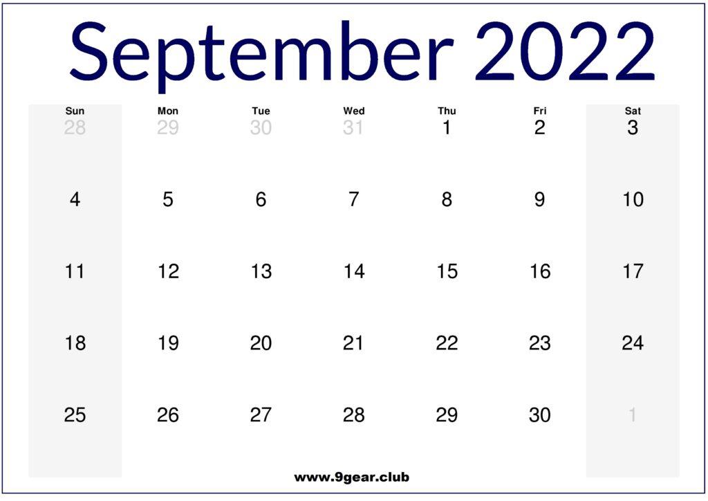 September 2022 US Calendar Printable