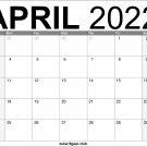 April US 2022 Calendar Printable Download Free