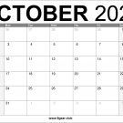 October 2022 Calendar Free Printable US